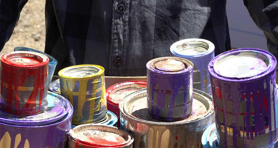 Paint Cans Being Donated