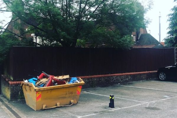 A private car park is often suitable for skip hire. This is a skip in Portbury which we delivered.